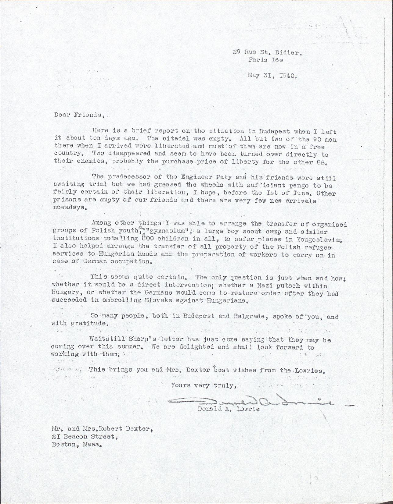 Donald A. Lowrie levele Robert C. Dexternek a Magyarországon tapasztaltakról - forrás: Harvard Egyetemi Könyvtár: Unitarian Universalist Service Commitee iratai