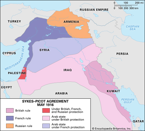 A Sykes-Picot egyezmény, 1916. Forrás: Encyclopaedia Britannica
