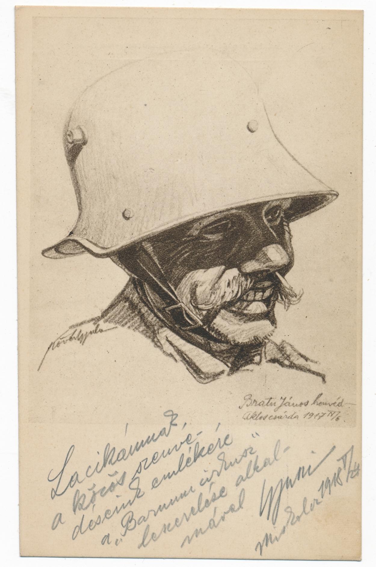"""""""Tanulmányfej, 1917. április 6."""" Forrás: Béky Zoltán gyűjteménye. Érdemes megfigyelni a fordítva viselt acélsisakot, ugyanis a katonákat a fejvédő sokszor zavarta a """"rendeltetésszerű"""" használat során."""