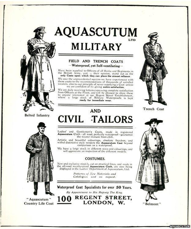 Aquascutum apróhirdetés 1917-ből. Forrás: BBC
