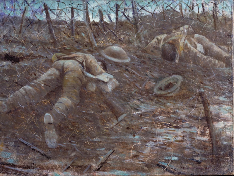 Christopher Nevinsen: Paths of Glory. 1917. A képet egy ideig betiltotta a cenzúra, mivel a háború értelmetlenségét sugallta. Forrás: Imperial War Museum, Art.IWM ART 518
