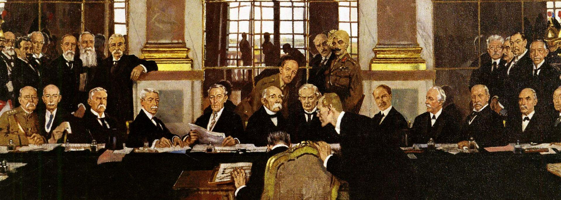 A versailles-i kastély tükörterme, 1919. június 28. Forrás: Imperial War Museum, Art.IWM ART 2856