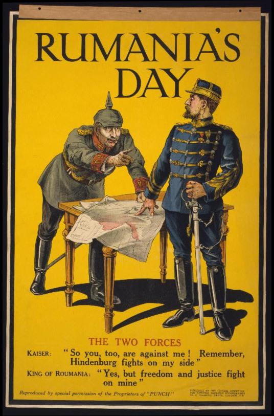 1918-ban megjelent ropagandaplakát Románia hadbalépéséről. Forrás: Library of Congress