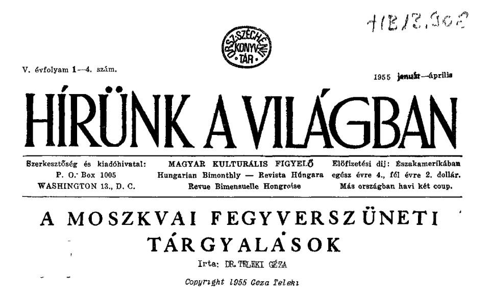 A Hírünk a Világban címlapja Teleki Géza írásával (Forrás: epa.oszk.hu)