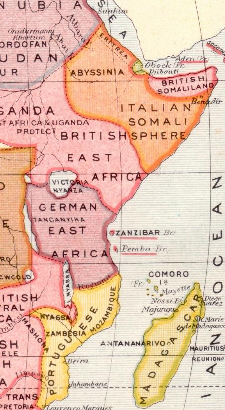 Német Kelet-Afrika és a környező gyarmatok (Kép forrása: Philatelic Database)
