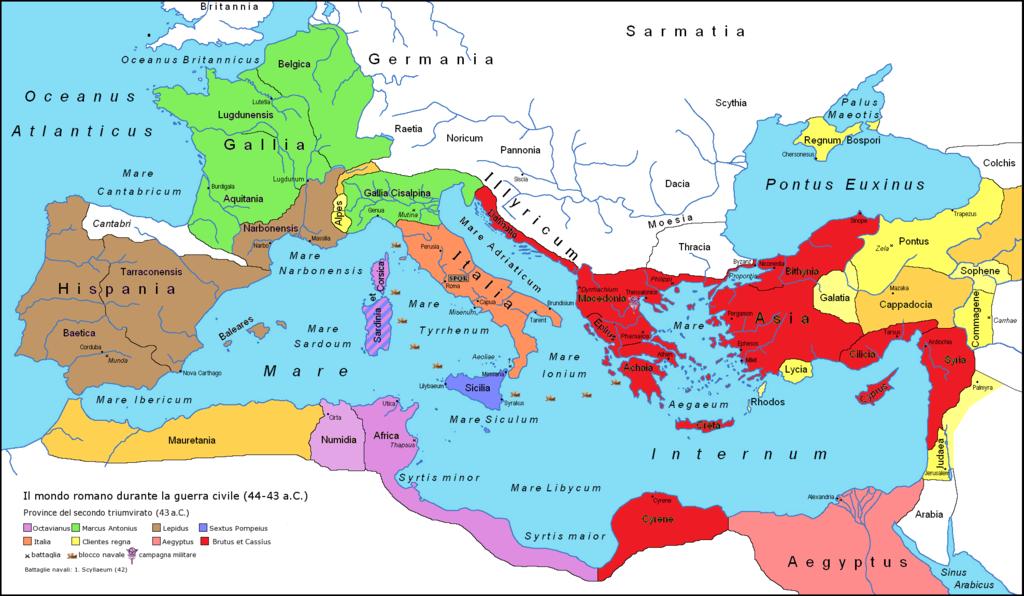 A helyzet Kr. e. 43/42-ben. A barnával jelölt területek ura volt Lepidus (zöld Antonius, lila Octavianus). De amíg triumvirtársai keleten háborúskodtak (a Caesar-ellenes erők által uralt terület vörössel jelölve), addig Róma és Itália felett is ő gyakorolta a fennhatóságot. https://en.wikipedia.org/wiki/Marcus_Aemilius_Lepidus_(triumvir)#/media/File:Roman-Empire-43BC.png