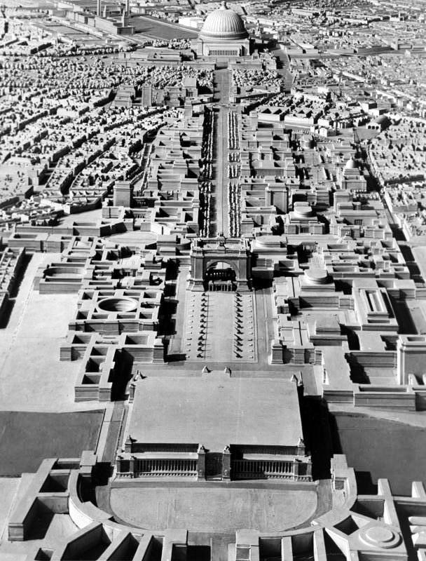 Welthauptstadt Germania (Germánia világfőváros) modellje, a Volkshalle felől nézve