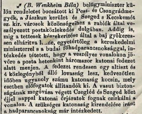 Katonai kíséret elrendeléséről szóló hír a Vasárnapi Ujságban (Vasárnapi Ujság, XV. évf., 52.sz.)