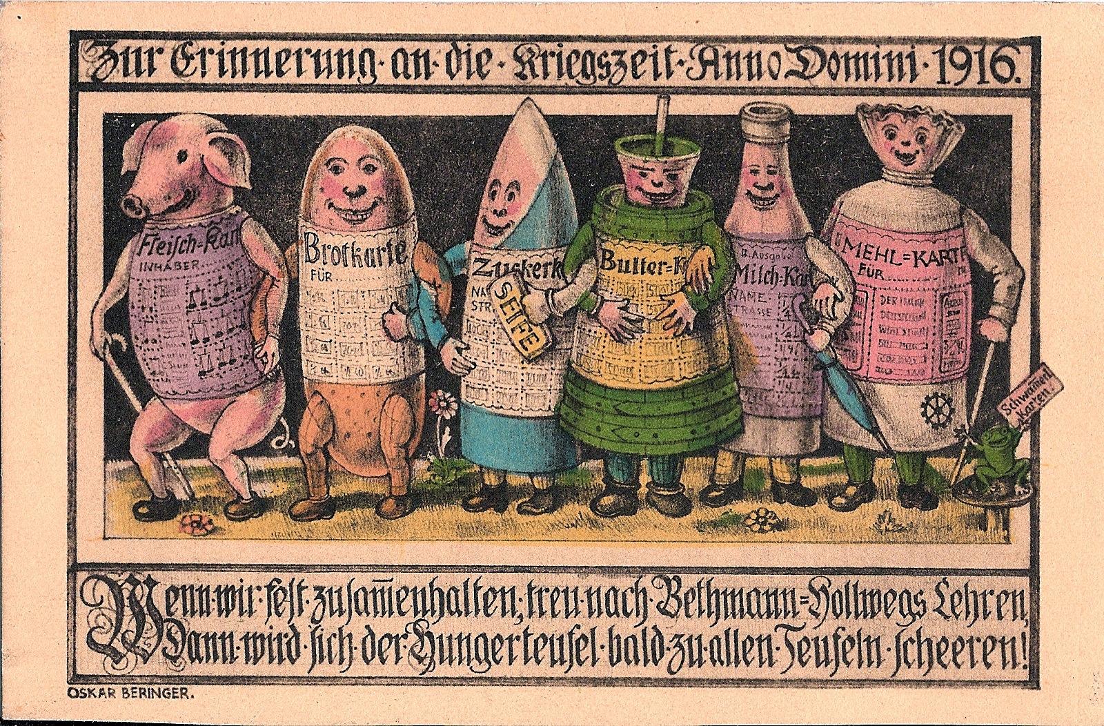 """Oscar Beringer 1916-os karikatúrája az élelmiszerjegybe """"öltözött"""" élelmiszerekről. (Europeana)"""