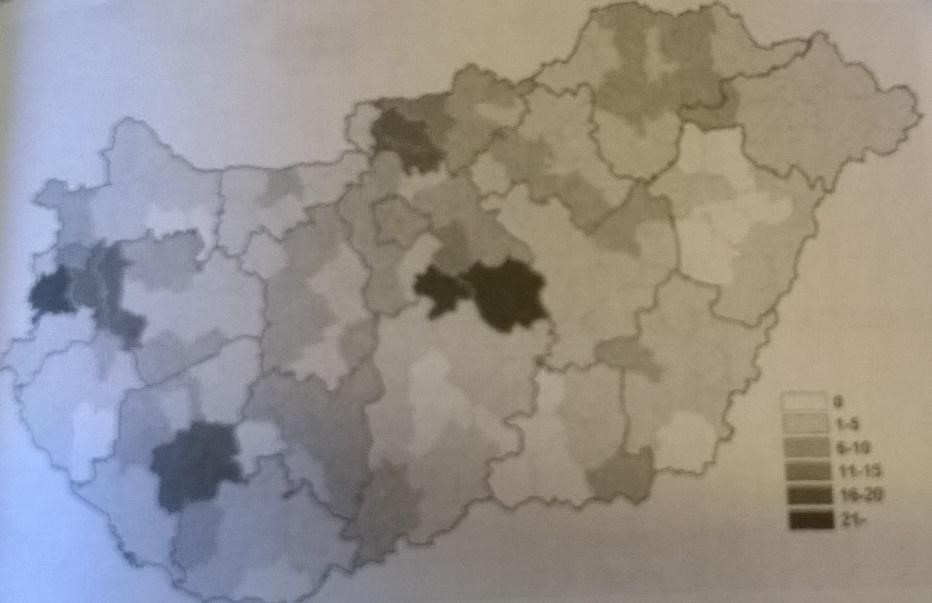 Műemlék kastélyok elhelyezkedése Magyarországon. Forrás: Mányoki Zsolt: Műemlék kastélyok hasznosítása, 2006. 169. o.