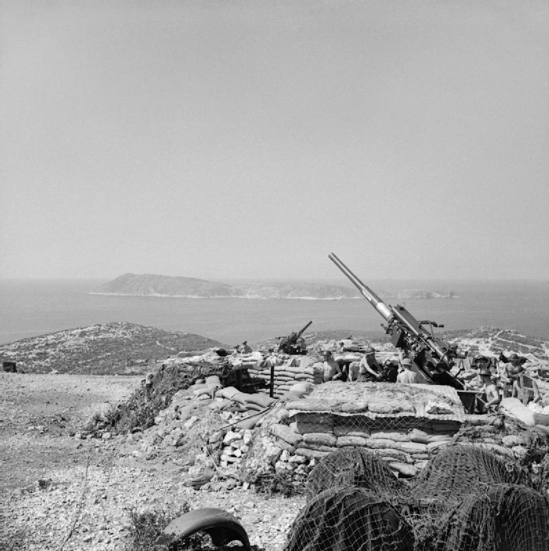Brit légvédelmi ágyú Vis szigetén 1944 augusztusában. Imperial War Museum, NA18246