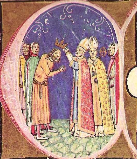 Könyves Kálmán megkoronázása a Képes Krónikában (wikipedia)