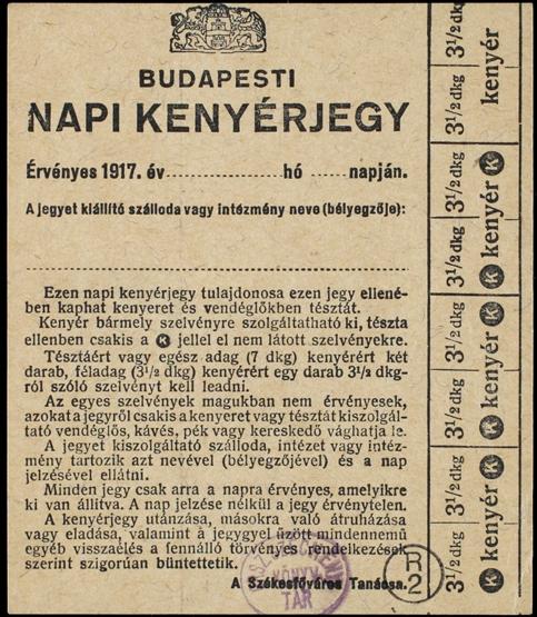Magyar (budapesti) kenyérjegy 1917-ből. Országos Széchényi Könyvtár, Plakát- és Kisnyomtatványtár: OFK 42985