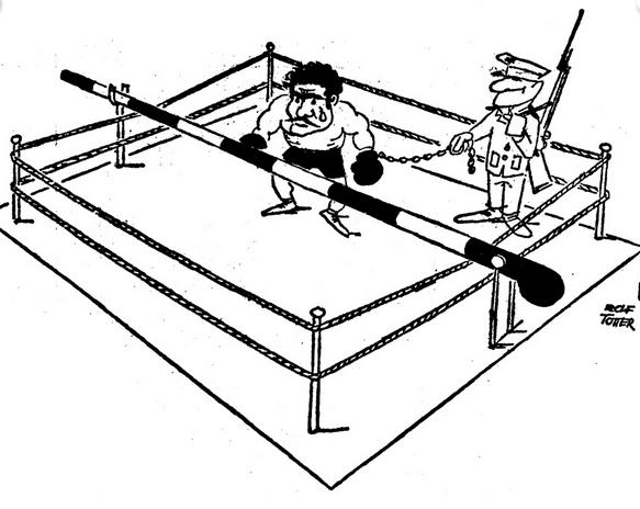 """""""A vasfüggöny leereszkedett a ringre. Kemény őrség és sorompó vetett véget a Bajnok karrierjének."""" Szatirikus rajz egy korabeli NSZK újságból"""