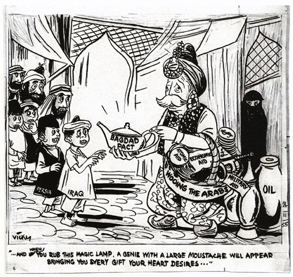Karikatúra a Bagdadi Paktumról. Vicky, 'The Daily Mirror', November 24, 1955