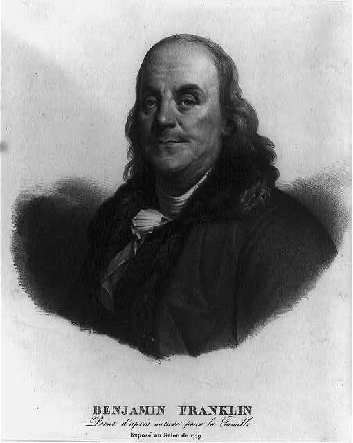 Benjamin Franklin - peint d'après nature pour la famille - exposé au Salon de 1779. Kép forrása: Library of Congress, Fotográfiai Gyűjtemény: LC-USZ62-21488