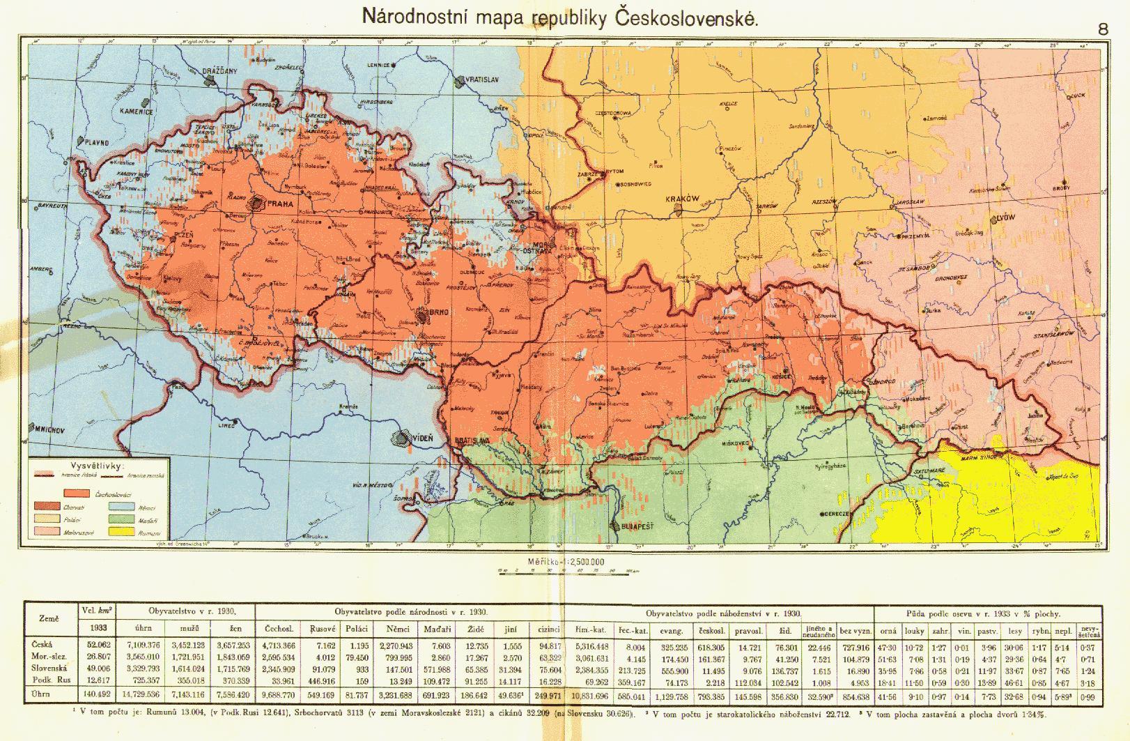 Csehszlovákia etnikai térképe, 1935. A térkép egyként kezeli az ukránokat és a ruszinokat, illetve a cseheket és a szlovákokat, valamint a területi kisebbségeket egyoldalúan tünteti fel, a magyarok hátrányára.