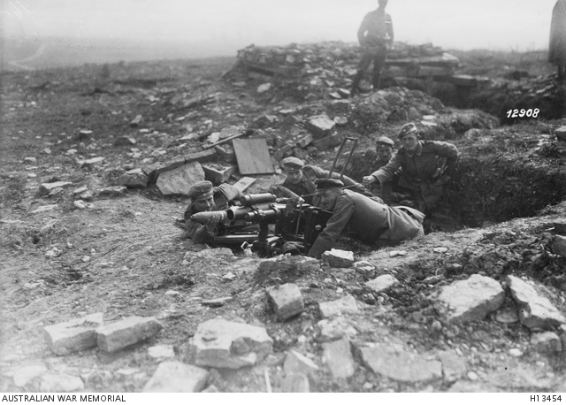 Német 75 mm-es aknavető a nyugati fronton, 1918. október. Forrás: Australian War Memorial, H13454