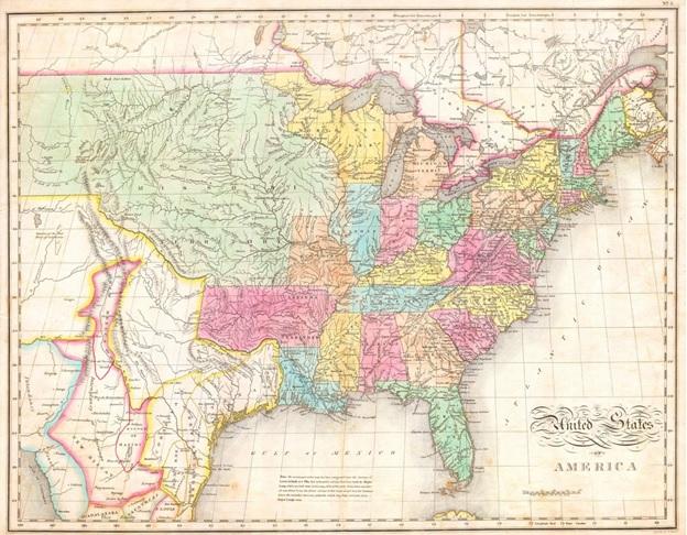 1820-ra az Egyesült Államok lakossága megközelítette a tízmilliót. 1818-ban rendezték az északi határvitákat Nagy-Britanniával. 1819-ben a spanyoloktól megszerezték Floridát. Az államok száma Monroe alatt 19-ről 24-re emelkedett (Mississippi, Illinois, Alabama, Maine, Missouri). A térképet készítette John Melish 1823-ban. A kép forrása.