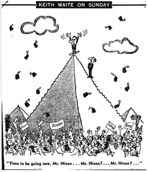 Így látták a karikaturisták Nixon látogatását. A kép forrása: Link