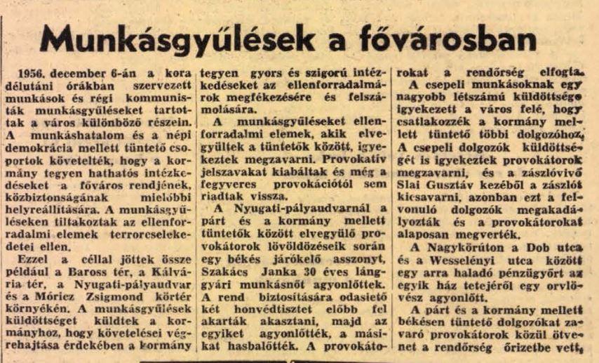 Népszabadság 1956. december 7.
