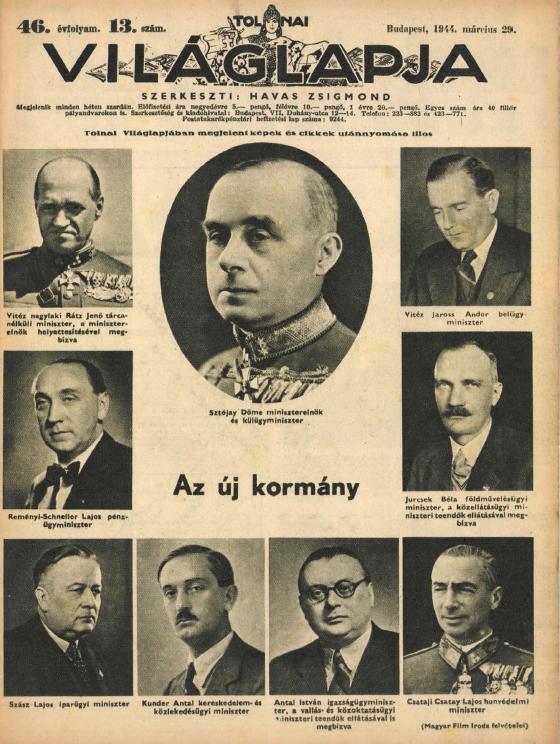 A Sztójay-kormány tagja a Tölnai Világlapja címlapján