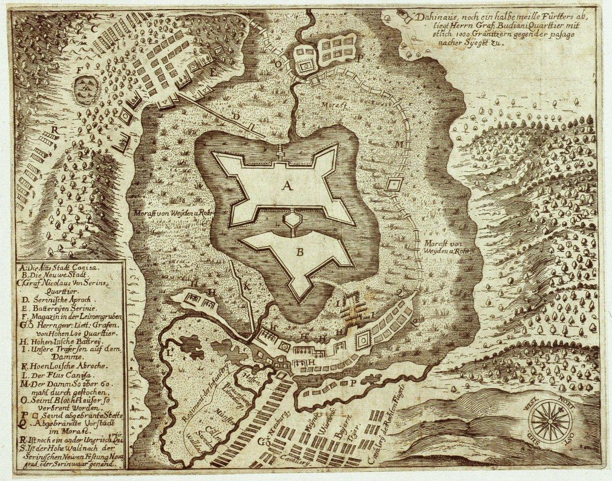 (Nagy)kanizsa erődítéseinek rajza, 1664. Digitales Archiv Marburg, HStAM WHK 1/14