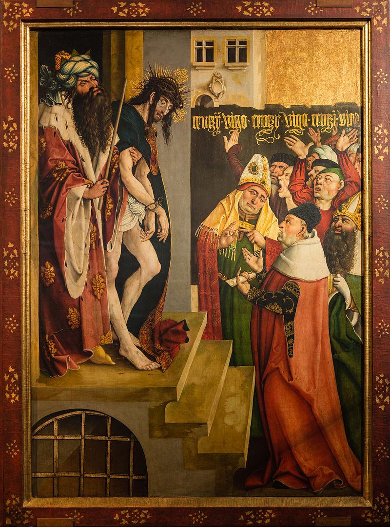 """id. Jörg Breu: a Melker-oltár egy táblája, az """"Ecce Homo"""" Pilátus itt törökként jelenik meg, míg a zsidó főpapok püspökként (1502)"""