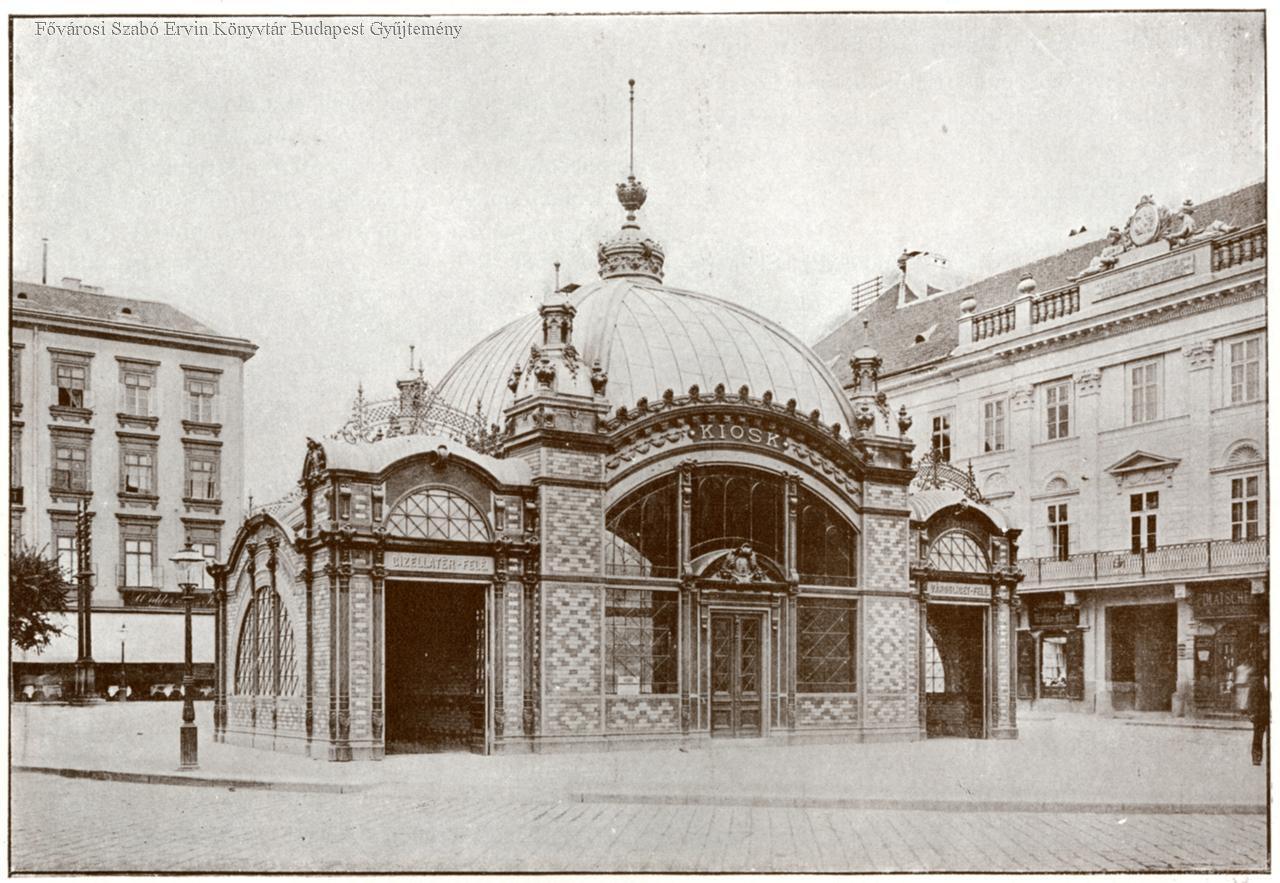 Jobb oldalt a Kemnitzer-ház, bal oldalt a késõbbi Adria-palota helyén állt 2. sz. lakóház részlete