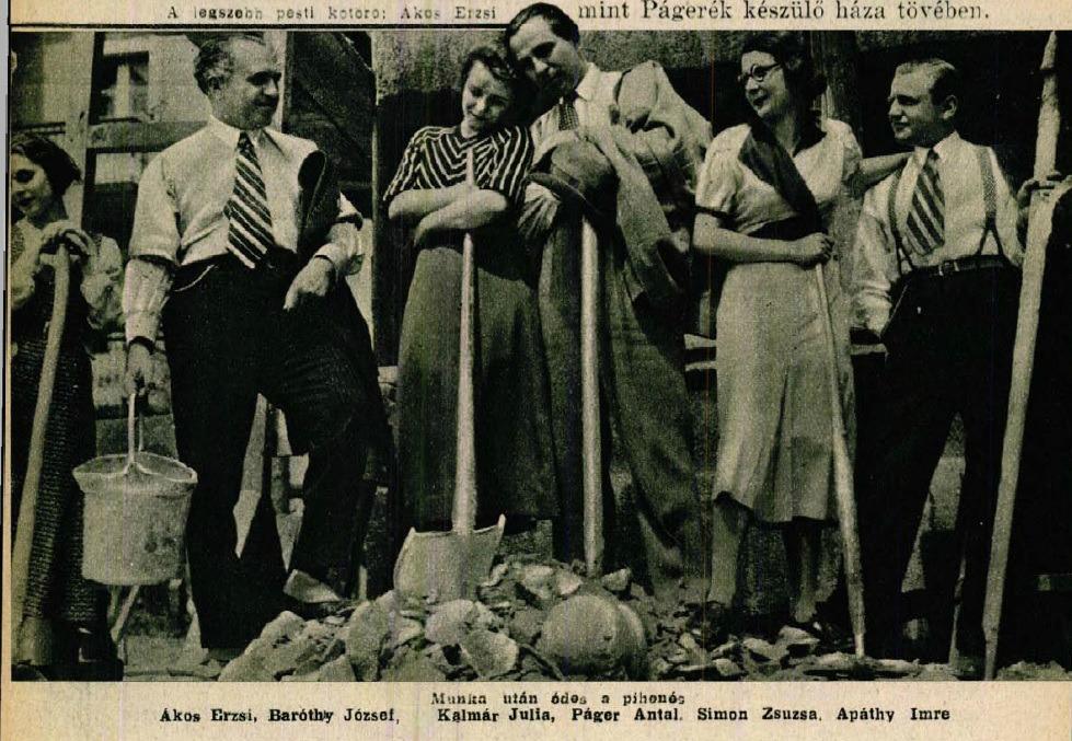 """A """"kőműves csapat"""" tagjai pihenés közben (Színházi Élet, 1933 23. sz.)"""