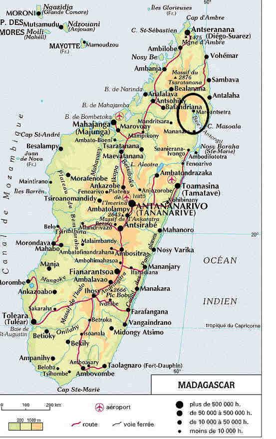 Madagaszkár mai térképe. Feketével jelölve Benyovszky elsődleges tevékenységi körzete