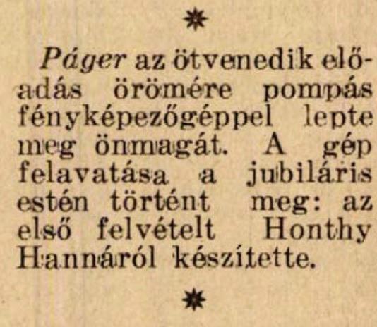 Értesítés Páger fotózásáról (Színházi Élet, 1936 33.sz.)