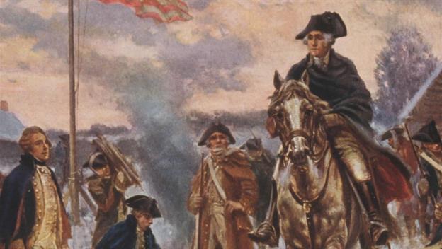 George Washington, a Kontinentális hadsereg parancsnoka (itt éppen Valley Forge-nál)