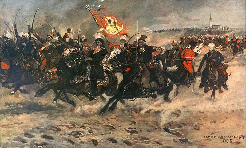 Kazimierz Pulaski, az 1767-es felkelés egyik vezére harcba vezeti embereit Czestochowa mellett.