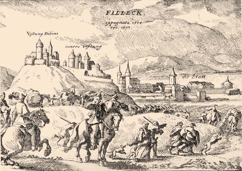 Fülek vára egy 1593-as metszeten (Szilágyi Sándor: A magyar nemzet története)
