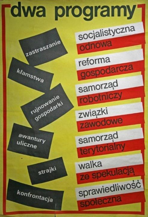 Két program megfélemlítés – szocialista megújulás hazugságok – gazdasági reform a gazdaság tönkretétele – munkás önkormányzatok utcai zavargások – területi alapú önkormányzatok sztrájkok – harc a spekulációval konfrontáció – társadalmi igazságosság LEMP plakát 1980-1981, Forrás: ECS/T/ASP/002