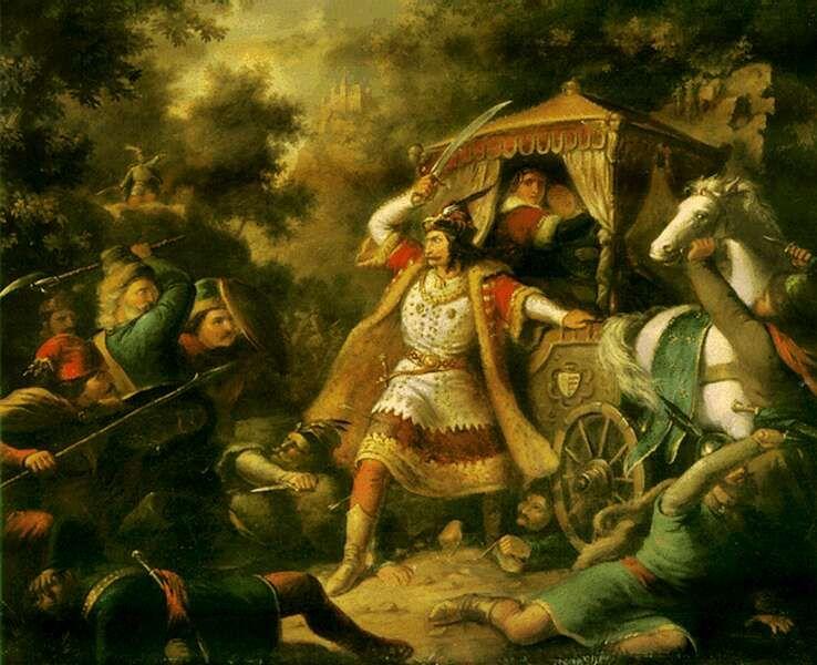 Garai nádor küzdelme a diakovári rajtaütésnél (Kovács Mihály festménye)