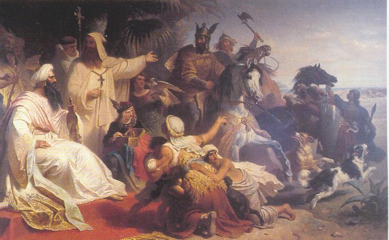 Harun al-Rasíd fogadja Nagy Károly követeit. Julius Köckert festménye (1864). (A kép forrása: Wikipedia)