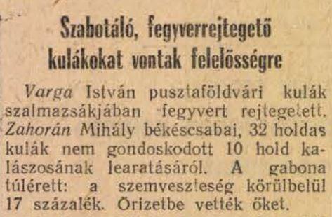 Békés megyei kulákok ügye a sajtóban (Szabad Nép 1950. július 1.)
