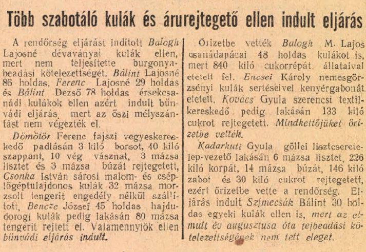 A kulákok ellen az újságban is folyt az uszítás (Szabad Nép 1951. január 28.)