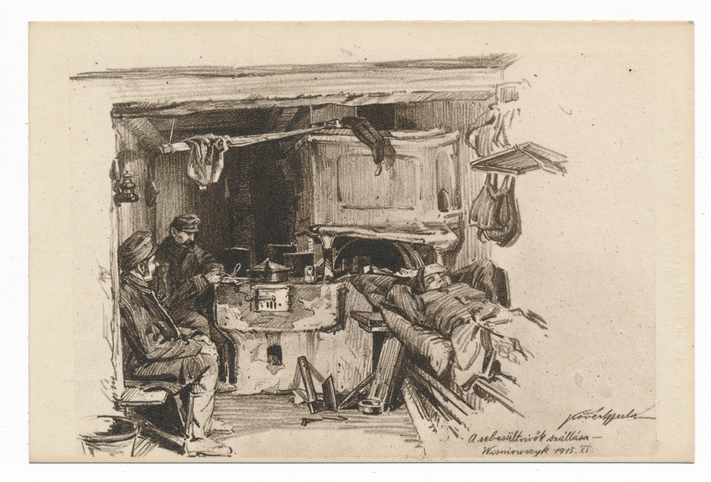 """""""Sebesültvivők szállása, 1915. november."""" Forrás: Béky Zoltán gyűjteménye."""