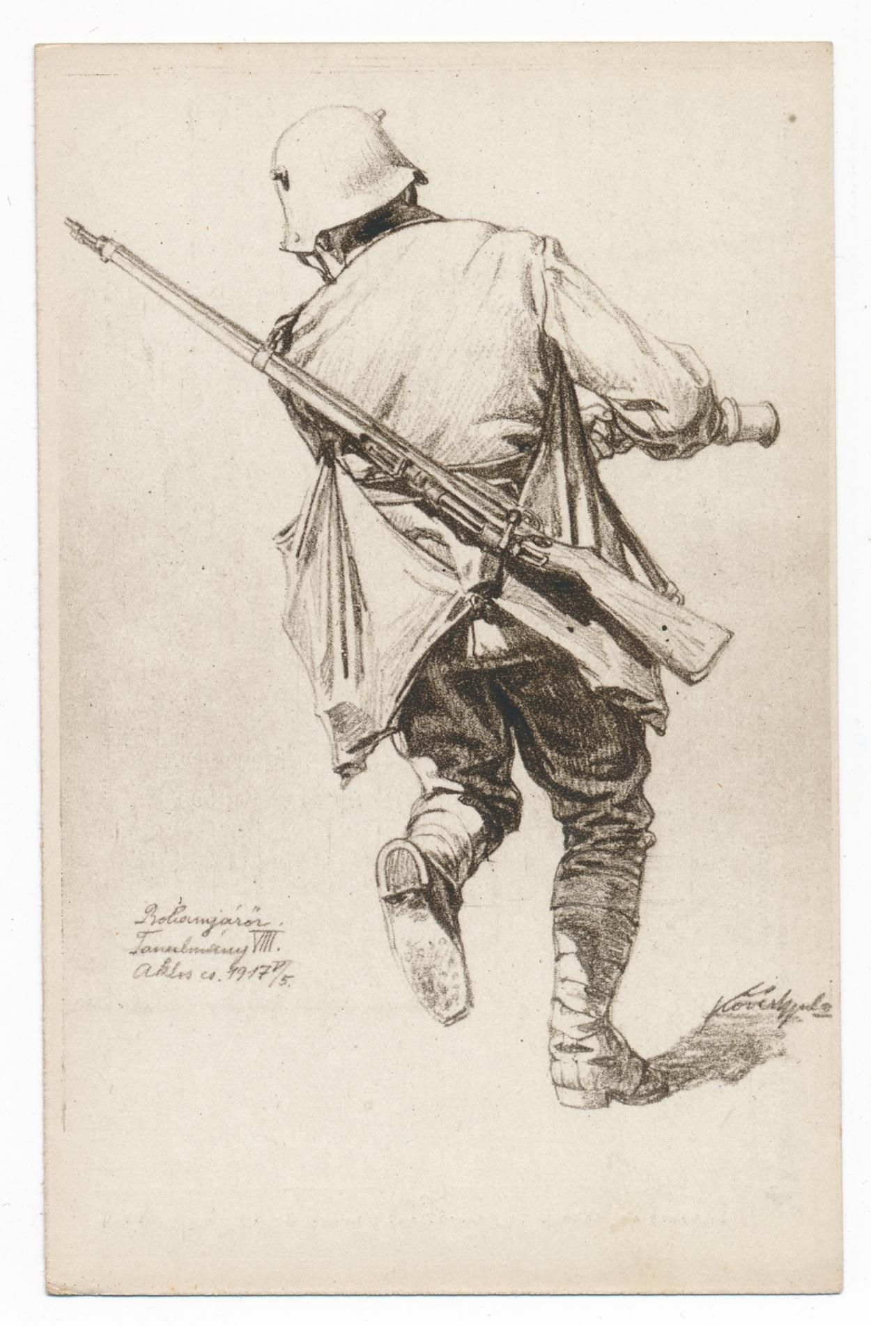 """""""Rohamjárőr Tanulmány VIII., 1917. május 5."""" Forrás: Béky Zoltán gyűjteménye. Érdemes megfigyelni a tipikus """"rohamista"""" felszerelést: acélsisak (szintén fordítva), gránát, ismétlőkarabély (bár a képen lévő fegyver inkább puskának tűnik), két gránátzsák a vállon átvetve, benne további nyeles kézigránátok."""
