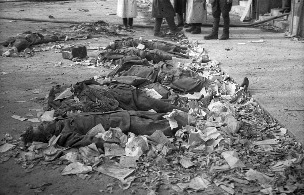 A pártház ostroma után kivégzett védők holtteste NAGY GYULA / Fortepan