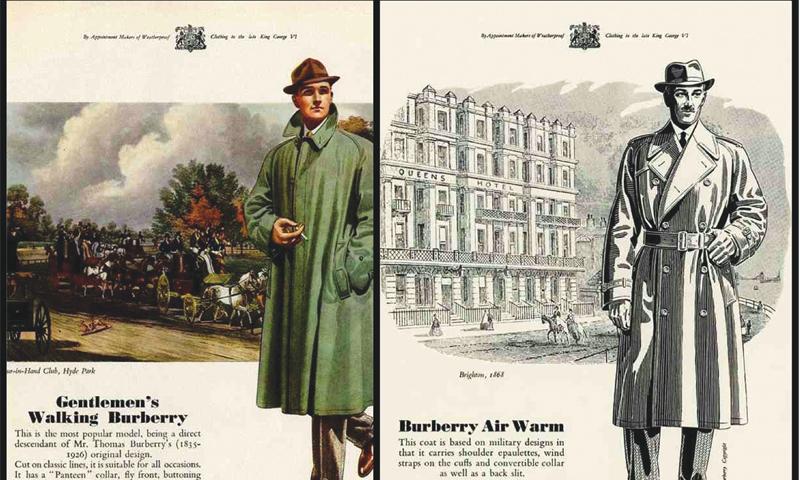 Háború utáni Burberry hirdetés az 1930-as évekből. Forrás: dawn.com