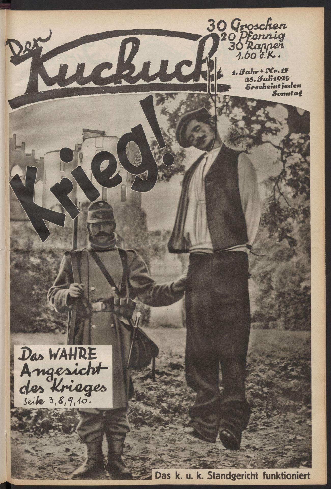 A Der Kuckuck (A kakukk) c. osztrák szociáldemokrata újság címlapja 1929-ből. (Forrás: Der Kuckuck. 1. évf. 17. sz. (1929) 1. o.