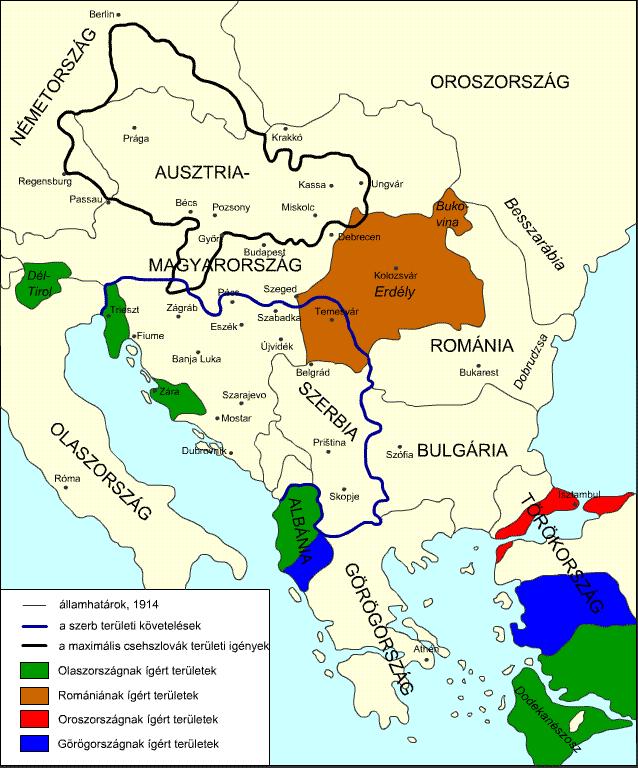 A térképen jól látszik, hogy a Bánság területére mind a szerb, mind a románok igényt tartottak. Forrás: wikipedia