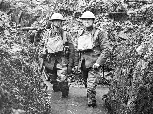 Brit katonák a nyugati fronton acélsisakban, 1916. Forrás: Daily Mail Online