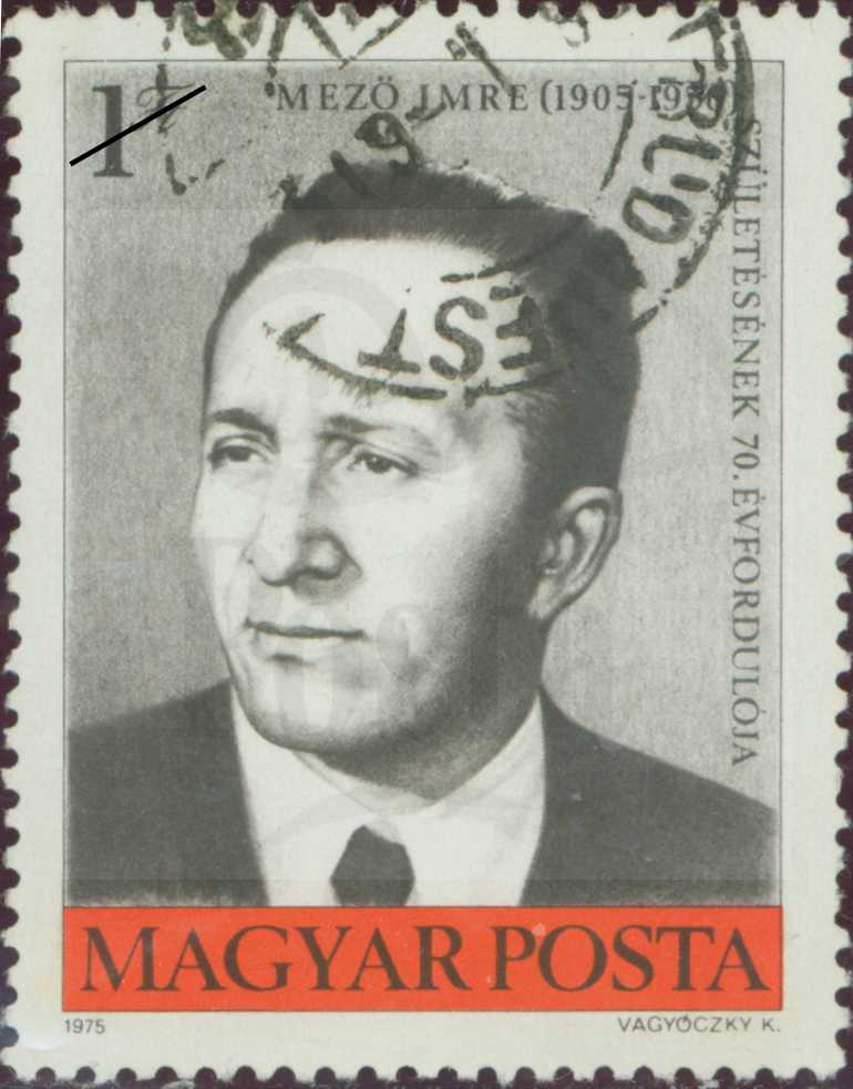 Mező Imre egy 1975-ös bélyegen. OSZK, DKA-054698