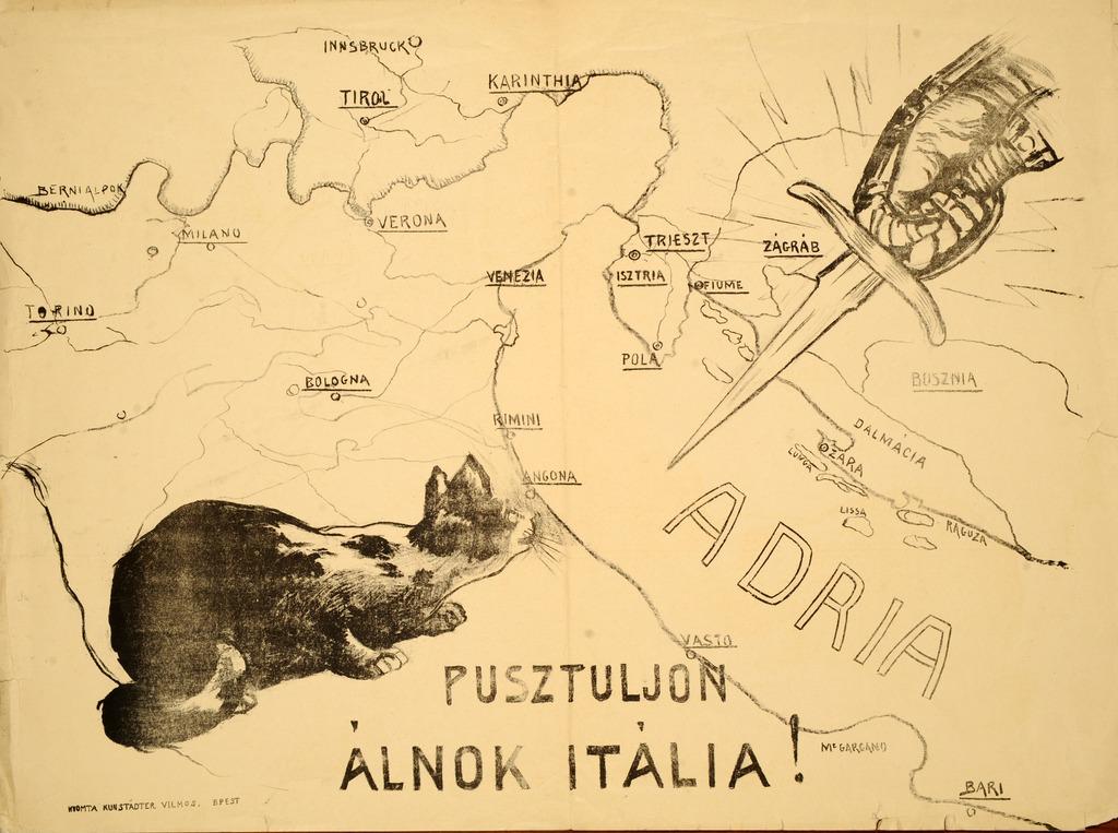 Pusztuljon álnok Itália! Forrás: Országos Széchenyi Könyvtár, Plakát- és Kisnyomtatványtár, PKG.1915/VH/14