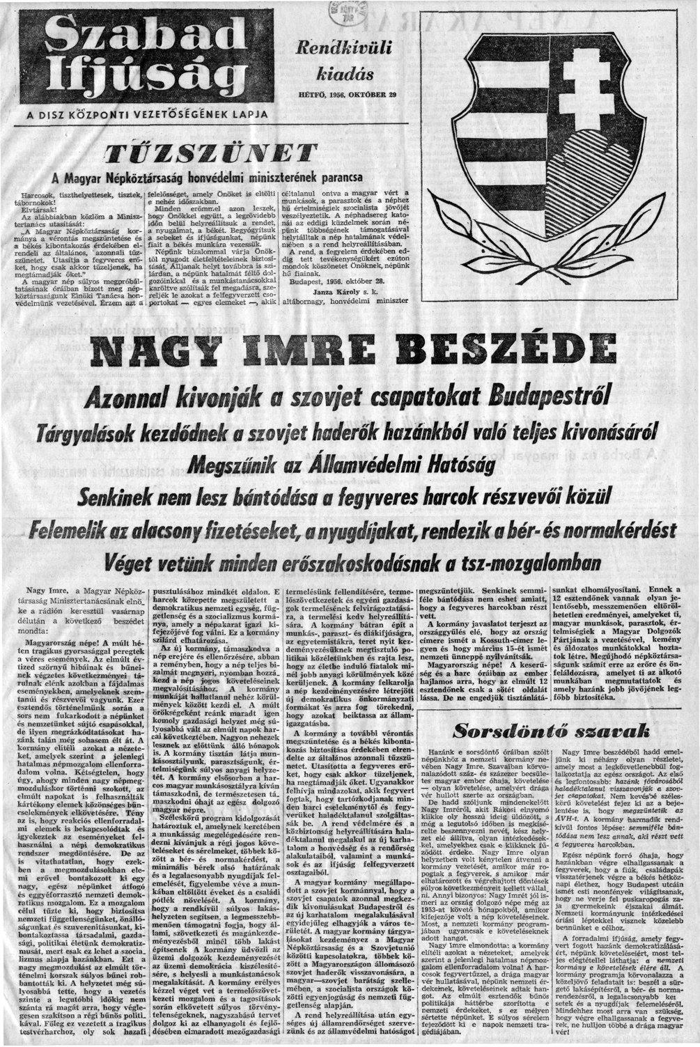 Tudósítás a beszédről 1956. október 29-én